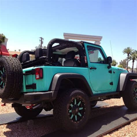 black and teal jeep tiffany blue 2 door jeep rubicon fuel offroad wheels