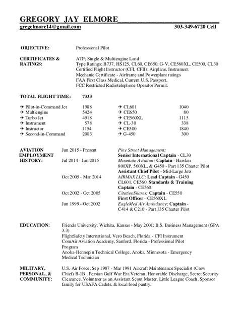Airline Pilot Resume by Greg Elmore S Professional Pilot Resume