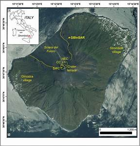 A  Location Of The Island Of Stromboli  B  The Island Of