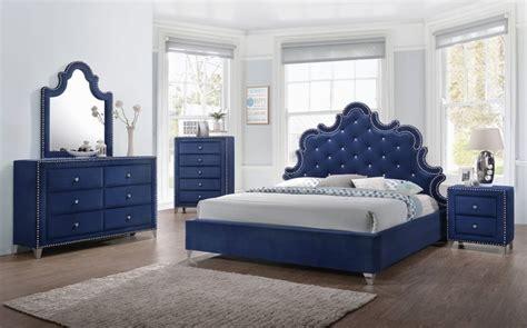 calista modern crystal tufted navy velvet king bed set