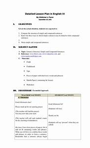 Detailed Lesson Plan Sentence Structure Simple  U0026 Compound