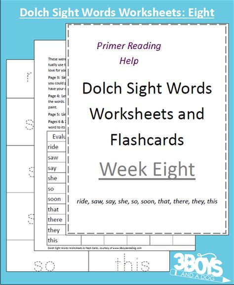 dolch primer dolch sight words worksheets week eight 3 boys and a dog