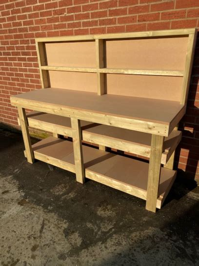 ft mdf top workbench  divided backboard  shelves