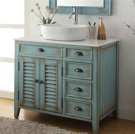 bathroom vanity coastal beach style white vessel