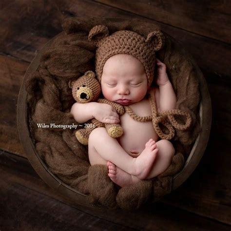crochet baby newborn bonnet bear hat  teddy bear toy