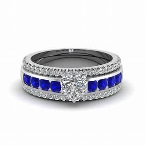 view our blue sapphire trio wedding ring sets With sapphire wedding rings sets