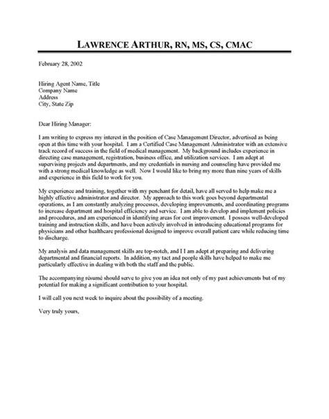 management cover letter sle