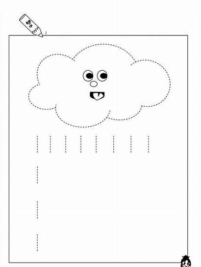 Worksheets Rain Worksheet Trace Tracing Kindergarten Line