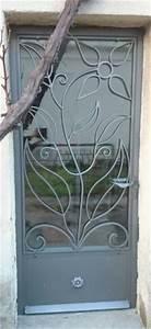 Grille Porte D Entrée : porte d 39 entr e en fer forg double vitrage avec grille ~ Melissatoandfro.com Idées de Décoration