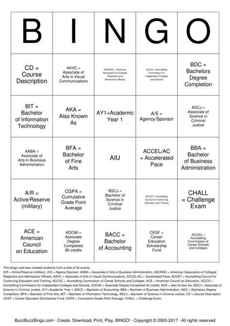 acronym bingo cards   print  customize