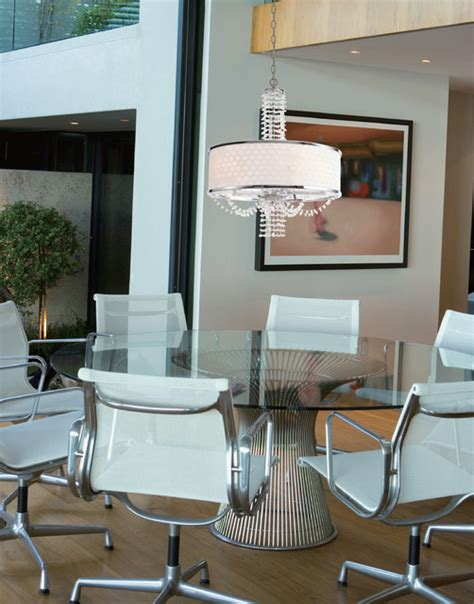 contemporary chandelier with white drum silk shade