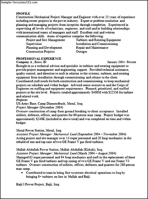 construction project manager resume format sle templates