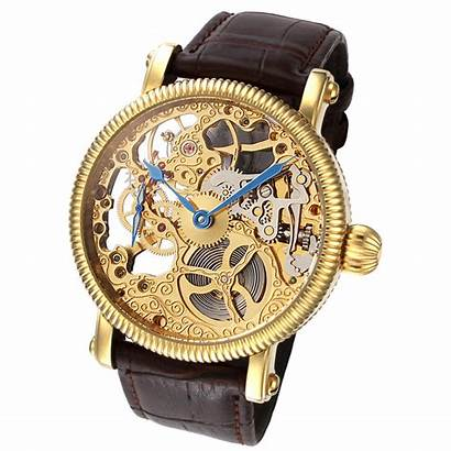Skeleton Mechanical Gold Band Leather Rougois Brown