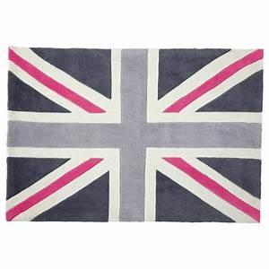 Tapis Rose Et Gris : tapis poils courts gris rose 120 x 180 cm union jack ~ Dailycaller-alerts.com Idées de Décoration
