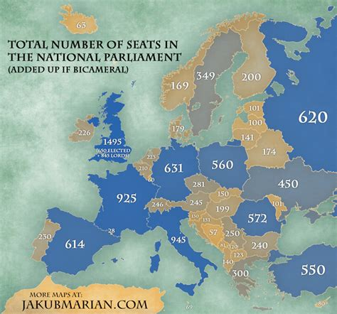 number  seats   national parliament  country
