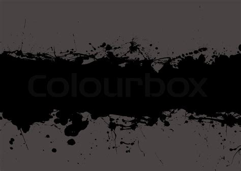 dark black grunge ink splat banner with grey background and copyspace stock vector colourbox