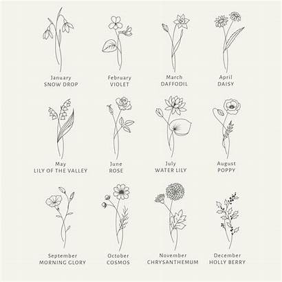 Month Svg Clipart Birth Floral Flowers