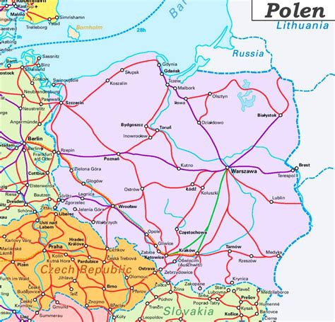 schienennetz karte von polen