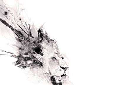Abstract Animal Wallpaper - abstract minimalistic animals artwork lions white