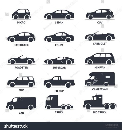 Car Type Model Objects Icons Set Stock Vector 593605505