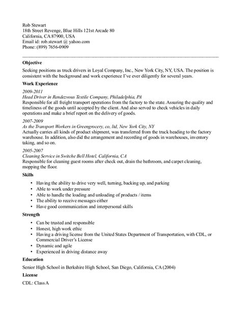 samples  truck driver resumes perfect resume format