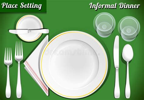 Set Of Place Setting Informal Dinner Stock Vector