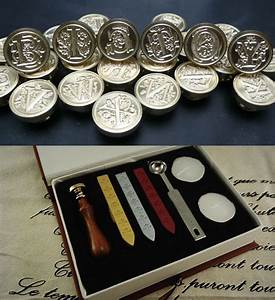 Sealing wax tools kit wax seal stamp wax seals stamp a for Wax letter seal kit