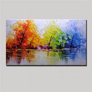 large handpainted color tree abstract landscape oil With delightful couleur moderne pour salon 3 paysage de couleurs tableau abstrait artwall and co