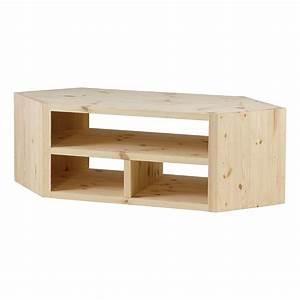 Meuble Angle Bois : meuble tv d 39 angle design pin massif brut 3 niches ~ Edinachiropracticcenter.com Idées de Décoration