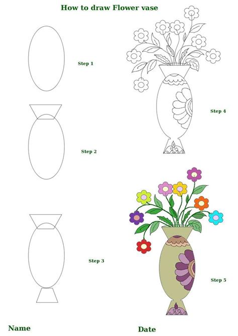 how to draw a flower step by step how to draw flower vase