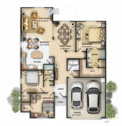 genius single storey design 2d color floor plan of a single family 1 story home