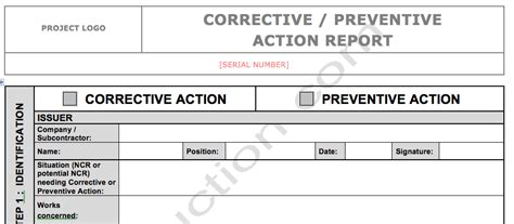corrective action report template form 6 guatemalago