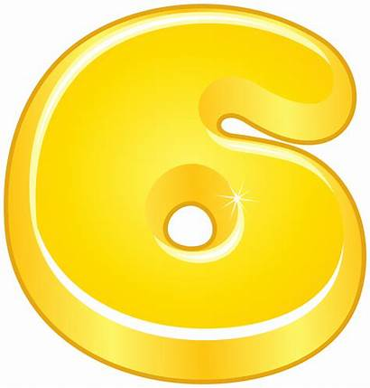 Cartoon Number Six Yellow Numbers Clipart Decorative