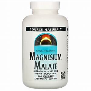 Source Naturals Magnesium Malate Dietary Supplement 3 750 Mg 200 Capsules 21078016007