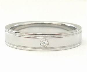 tiffany co platinum diamond 4mm flat double milgrain With tiffany milgrain wedding band ring