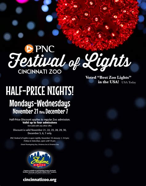 zoo lights coupons get 1 2 price tickets to pnc festival of lights at skyline