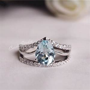 Natural aquamarine ring set aquamarine engagement ring set for Wedding rings aquamarine