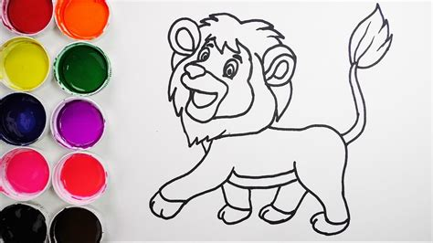 dibuja  colorea  leon de arco iris dibujos  ninos learn colors funkeep youtube