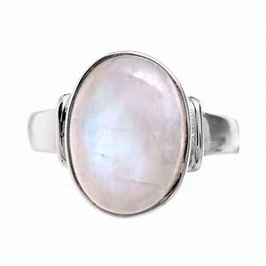 Sterling silver and oval rainbow moonstone ring