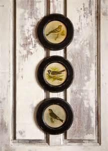 Round Vintage Bird Prints