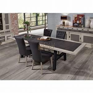 Table de drapier salle a manger chene massif pieds metal for Petite cuisine équipée avec meuble de salle a manger contemporain