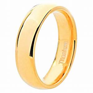 8mm Gold Plated Men39s Dome Titanium Wedding Band
