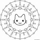 Coloring Mandala Cat Pages Printable sketch template