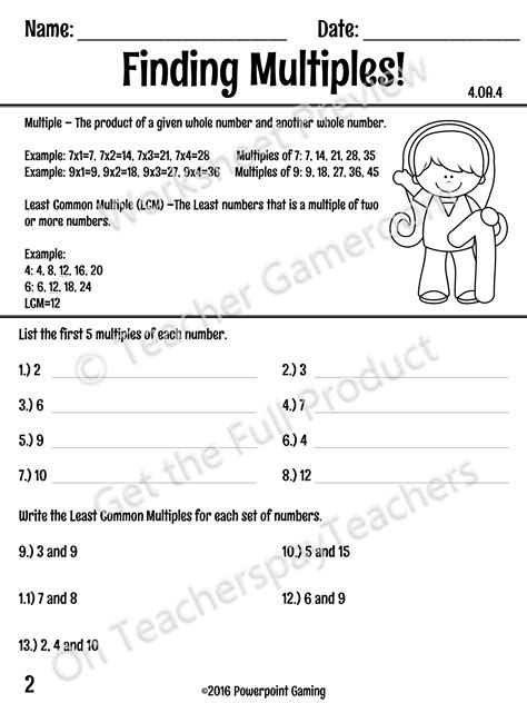 this worksheet teaches students how to find the least