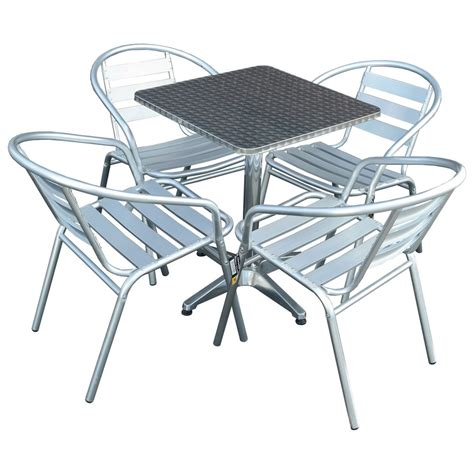 5 aluminium chrome bistro set table 4 chairs