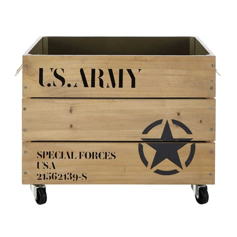 accessoire deco chambre bebe caisse à roulettes en bois 35 x 52 cm army maisons du monde