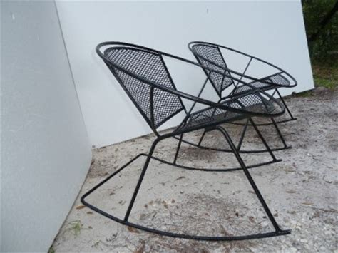 pair mid century salterini wrought iron patio