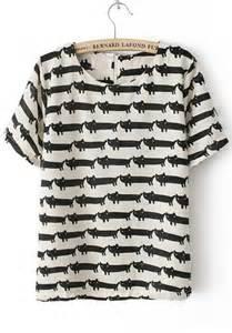 cat print white cat print zipper cotton blend t shirt tops