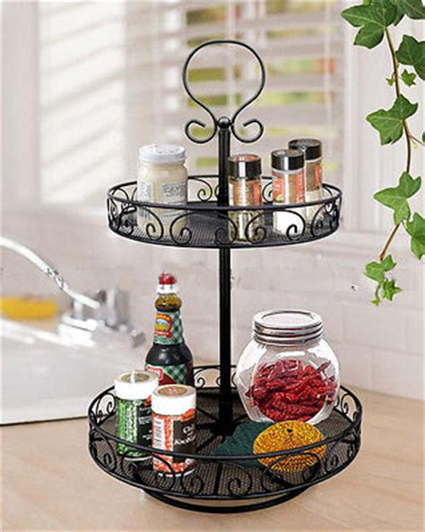Two Tier Revolving Spice Rack by Rotating Metal 2 Tier Lazy Susan Kitchen Organizer Black