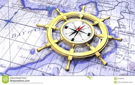 Compass In A Ship's Wheel Stock Illustration. Image Of